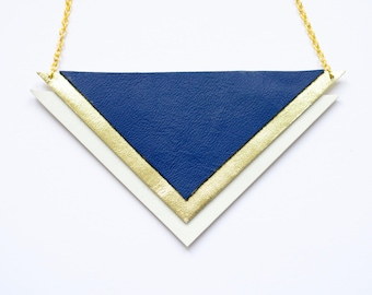 Geometric leather statement necklace