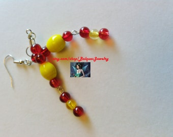 Yelloow and Red Earrings E#24  One Of A Kind!