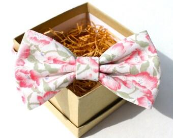 Pink Floral Bow Tie - Mens Pre-Tied Bow Tie - Womens Pre-Tied Bow Tie - Vintage Bow Tie - Light Pink and Sage Green Bow Tie