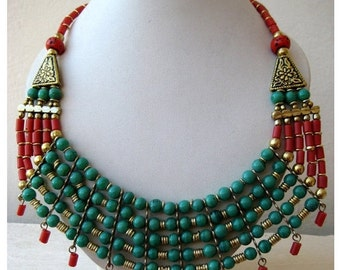 Indian Turquoise and Coral Bib Necklace/Blue and Red Bubble Necklace/Statement Necklace - Beaded Jewelry