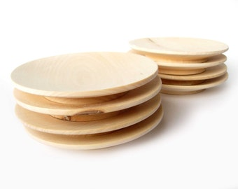 """Unfinished Wooden Plate, Set of 4, Wooden Shape, Unpainted, Decoupage, Natural Wood, Eco Friendly Diameter 10,5 cm (4,3"""") Wood Plates"""