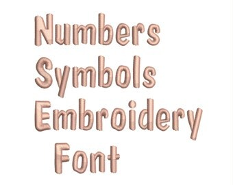 Machine Embroidery Font Designs - Font Letters, Numbers, Symbols Font Alphabet - 0.3 , 0.5 , 0.75 inch Sizes