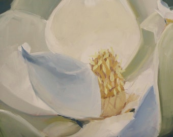 Magnoila Study 1- 6x6 inch Original Oil Painting on Ampersand Gessobord