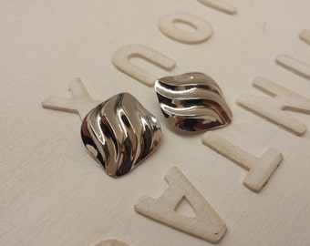 TRIFARI Clip Earrings 50s Silver Tone Waves Vintage American Jewelry