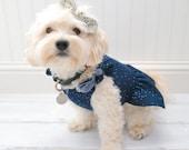 Dog Clothes, Girl Dog Dress Navy Dot Print