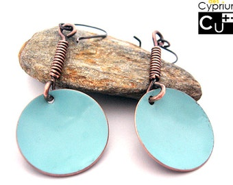 Handmade earrings/Dangle earrings/Enamelled earrings/Turquoise earrings/Copper earrings
