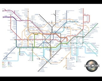 Film based London Underground Tube Map A3, A2, A1, A0 Poster Print