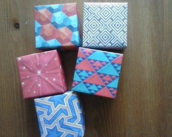 Origami boxes mixed prints (set of 5)