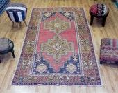 Vintage Turkish Rug  4.4 x 8.5 ft  ( 134 cm x 258 cm)