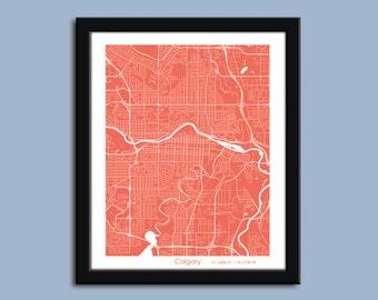 Calgary map art, Calgary city art map, Calgary wall art poster, Calgary decorative map