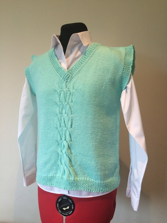 Ladies Vest Hand Knitted Top Handmade Ladies Vest Hand