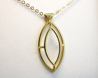 Wire-Frame Marquise Necklace - 3D PRINTED