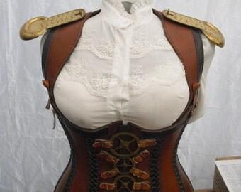 Custom made Leather Steam punk corset