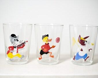 Retro Drinking Glasses - Set of Three with Cartoon Design