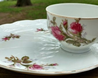 Ucago Moss Rose Luncheon Plate,Snack Set Teacup,Tea Cup,Pink Flowers,Mossy Rose,Shabby Rose,White and Pink China,Porcelain Cup and Saucer