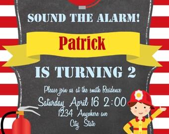 Sound the Alarm! Fireman birthday invitation