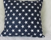 Stars pillow cover, 4th of July pillow cover, Navy with white Stars Pillow, Pillow Cover Navy with White Stars, 16X16 Pillow Cover