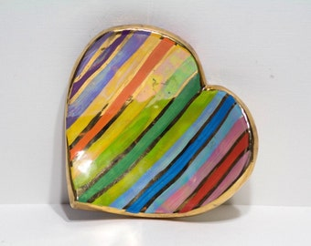 Mary Rose Young Signed Rainbow Heart Trinket Dish