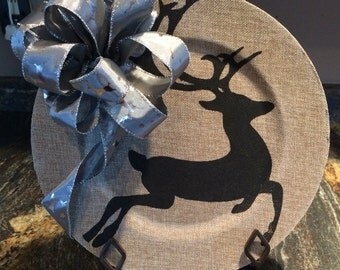 """Decorative Charger Plate-""""Winter/Holiday"""" (stand included)"""