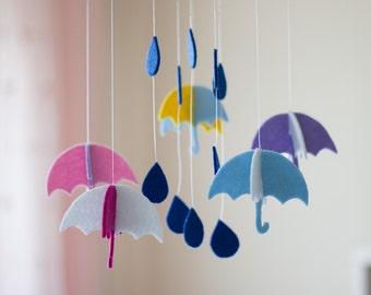 Gender Neutral Mobile, Cloud Baby Mobile, Colorful Baby Mobile, Minimalist Baby Mobile, Rain Mobile, Nursery Accessories, Umbrella Mobile
