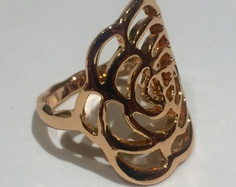 Rose Gold Flower Statement Ring