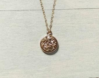 Druzy necklace Gold