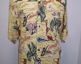 rayon vintage aloha print men's Hawaiian shirt L