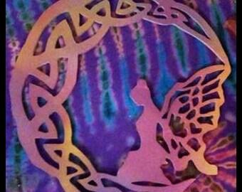 Wooden Fairy on Celtic Moon