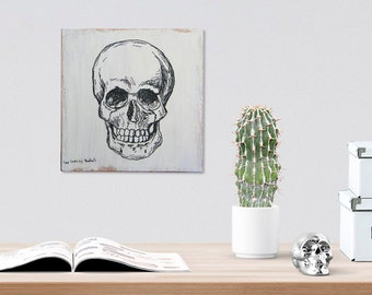 Skull wood sign, Teen room decor, Dorm decor, Black and white halloween decor, Gothic print, Rustic home decor