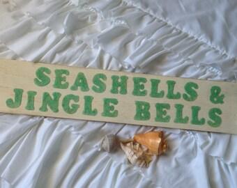 Christmas Signs, Christmas Decor, Coastal Christmas Decor, Christmas at the Beach, Seashell signs, Beach signs