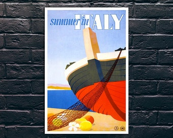 Summer in Italy Vintage Travel Poster, Italy Travel Print, Tourism Wall Art, Vintage Travel Poster Print, Sticker and Canvas Print