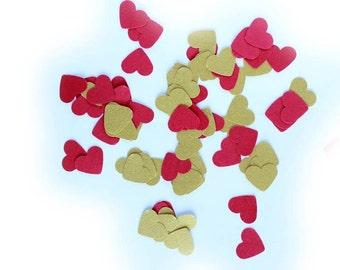 Paper Hearts Confetti Gold and Red,  Heart Confetti Wedding, Love Confetti, Paper Heart Die Cuts, Valentine Day confettig,