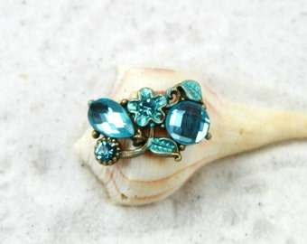 BLUE FLOWER - Beaded Toe Ring, Big Toe Ring, Blue Toe Ring, Beach Jewelry