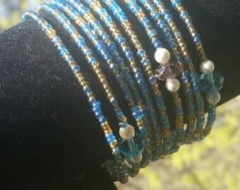 Women's Memory wire seed beads 2 gold and blue,  1 orange Bracelet. Women's Fashion Accessories, Womens Handmade Bracelet.