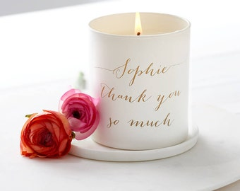 Personalised Glow Through Thank You Candle, Personalised Candle, Scented Candle, Personalized Candle, Thank You Gift, Wedding gift,