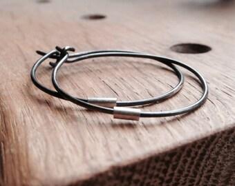 Silver Hoop earrings, black hoops, simple elegant and handmade