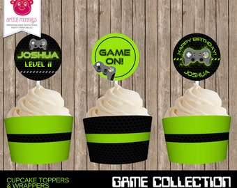 Personalised Video Game Party Cupcake Toppers and Wrappers - DIY Printable