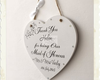 Personalised Bridesmaid Maid of Honour Wedding Heart Thank you Plaque W8