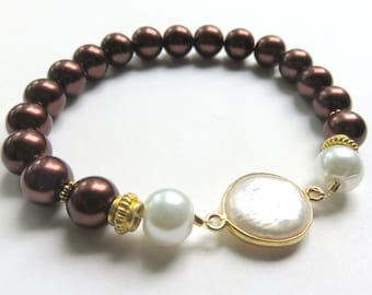 Brown Pearl Bracelet, Gold Vermeil,  Freshwater Coin Pearls, White Pearls, Mother of the Bride or Groom, Chocolate Brown Stretch Bracelet