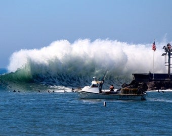 Framed Surf Photograph of Sandspit Wave in Santa Barbara  Wall Art