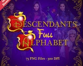 DESCENDANTS - Full Alphabet Clipart - 73 PNG Files 300 DPI - For Cardmaking, Scrapbooking, Party Decorations and More - Instant Download