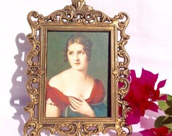 Brass/Vintage Brass Frame/ Italian Brass Frame/ Small Vintage Victorian Frame/ Victorian Decor/ Vintage Brass Picture Frame