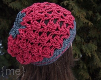 Pink Crochet Slouchy Beanie