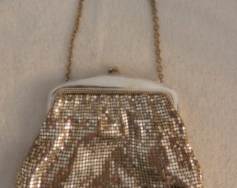 Small Vintage Silver Mesh Clutch Purse from the 1950's made by  Whiting & Davis