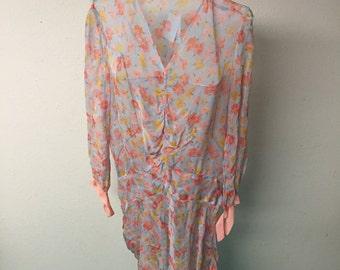 Vintage 1920's Silk Great Gatsby Dress. XS-M.