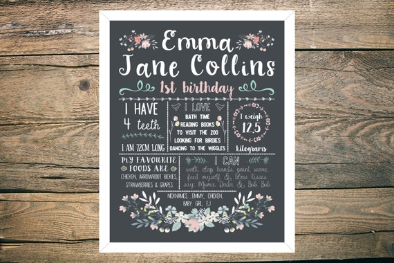 Personalised First/1st Birthday Chalkboard Sign - Girl - 11x14 inch - Printable - Floral theme