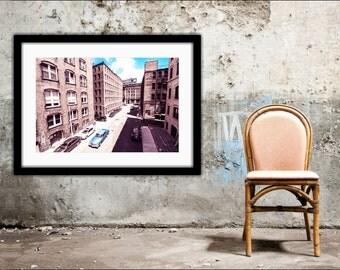 Boston, Old School, Vintage Style Wall Art, Boston Art, Architectural Wall Decor, Color Pop, Gangster, Boston Photography, Urban Cityscape
