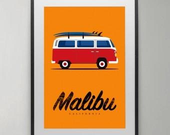Surfer print, volkswagen van, surfing, Malibu, California, Surfboard, print, Poster, Illustration, Wall Decor, Instant Download, Home decor.
