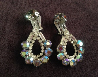 Vintage Clear, Grey and Purple/Blue AB Rhinestone Dangle Earrings 0582