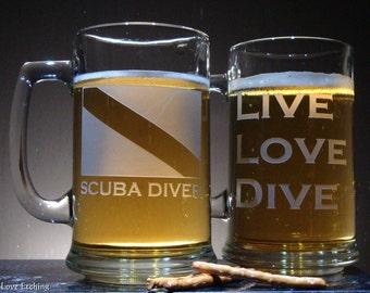 Etched Glass Beer Mug | SCUBA DIVER Dive Flag - for Scuba Enthusiasts